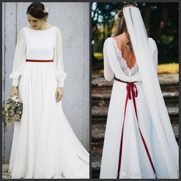 Chiffon Wedding Dresses 2019 Plus Size A-line Long Sleeves Backless With Sash Beach Bohemian With Court Train Bridal Gowns