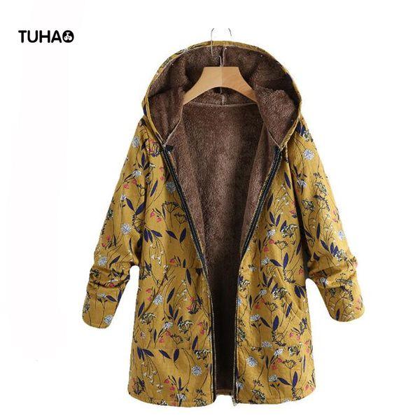 Tuhao stampato i cappotti lunghi stile della stampa floreale con cappuccio Zipper 2018 rivestimento delle donne in pile invernale Tasche Casual Parkas Tops TB9855
