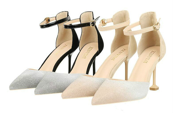 Amérique style mariée mariage à bout pointé sandales Stiletto Hee Appliqued boucle daim en cuir dames chaussures habillées taille