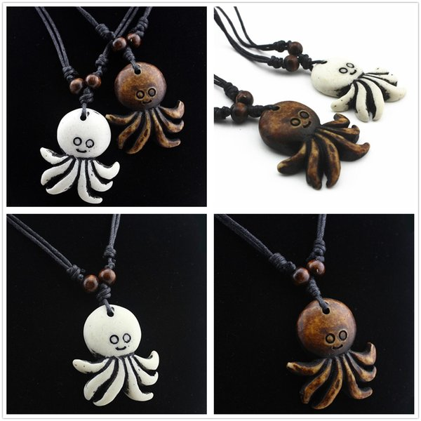 New Tribal Resin Octopus Choker Pendant Necklace Charm Jewelry Black Rope Lovely Gift Decor Free Shipping