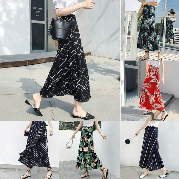 Moda Kadın Modası Yüksek Bel Çiçek Çizgili Şifon Maxi Etek Yeni Giyim / Giyim Aksesuarları