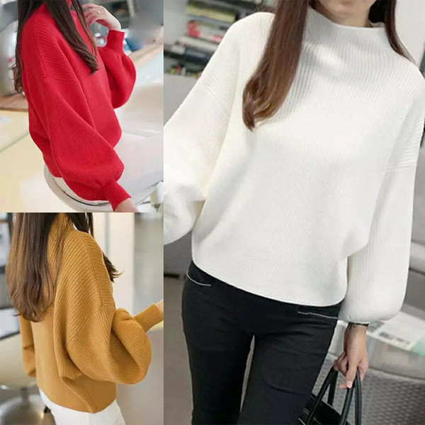 2019 winter women sweaters fashion turtleneck batwing lantern sleeve pullovers loose knitted sweaters female jumper lady girl