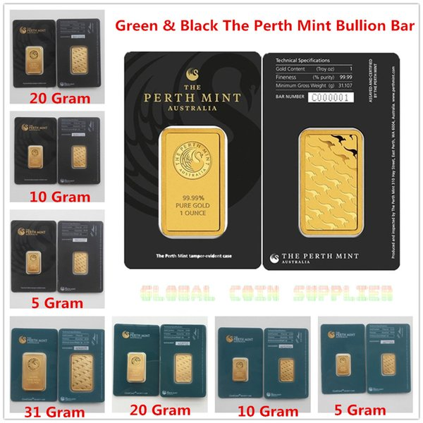 top popular Australia Perth Mint 24K Gold Plated Bar Coins Quality Copy Collections Souvenirs Christmas Present Black & Green Sealed Package 2021