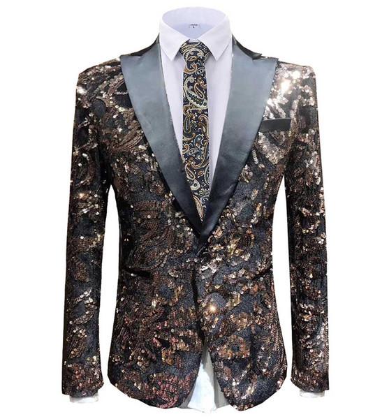 2019 mode herren farbe pailletten blazer peak notch revers smoking tailcoat best man anzug jscket für hochzeit bräutigam host 1 stück