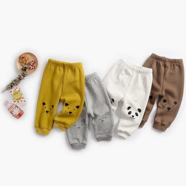 New Newborn Baby Girls Kids Pants Cute Animal Pattern Stretchy Leggings Plus Velvet To Keep Warm Children Pants Infant Legging
