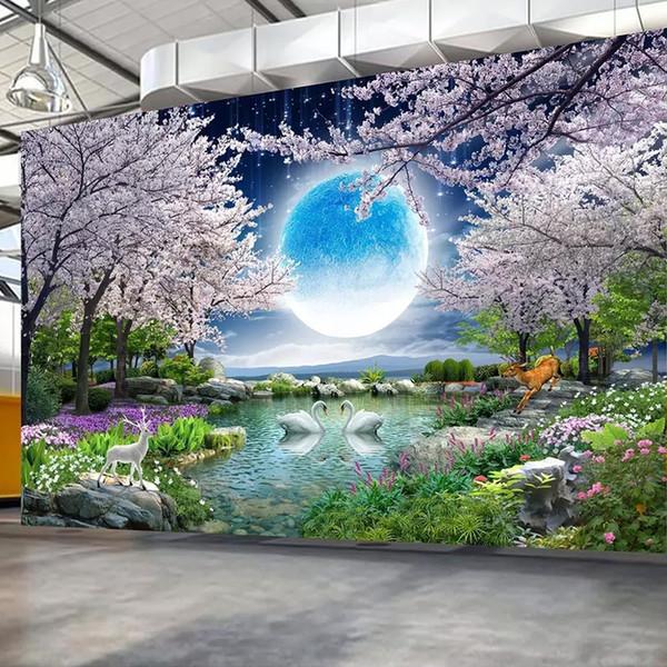 Papier peint personnalisé Lune Fleur de cerisier Arbre Nature Paysage Peinture murale Salon Chambre Photo Wallpaper Home Decor
