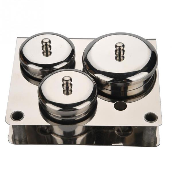 3pcs in acciaio inox Nail Art Mini polvere liquido Set Lattine scatola di immagazzinaggio strumenti per manicure compatto