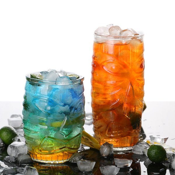 Lead-free glass juice cup Tiki cups Tropical Ghost Face Cup Hawaiian Cocktail cups Creative Totem Wine Glasses 4979