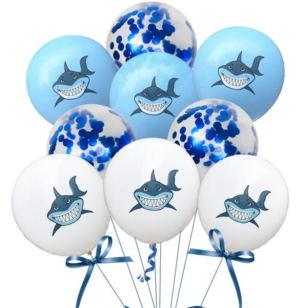 Marine Theme 12inch BABY SHARK Balloons Confetti 30CM Latex Smile Shark Doo  Doo Happy Emoji Face 12'' Sequin Baloons Good Birthday Party Air In