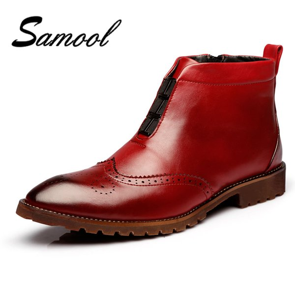 Brand Men Boots Fashion Bullock Shoes Handmade Warm Genuine Leather Winter Boots Men Casual British Style Ankle Snow jx5