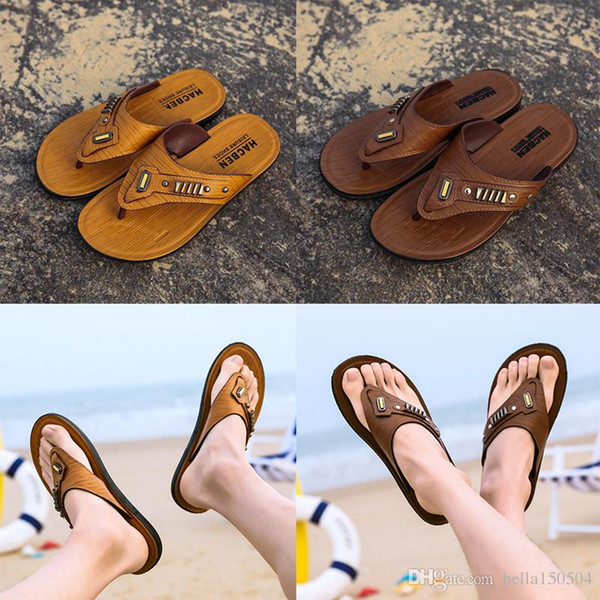 best quality Leather flip-flops Designer Brand Thong Sandals Beach Casual Slippers Teenagers Flip Flops Beach Shoes for mens Designer Shoes
