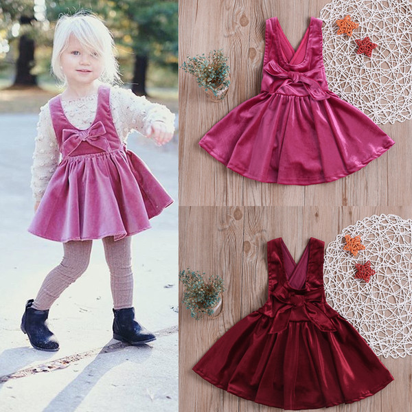 Baby Girls Bowknot Velvet suspender Dress Infant Toddle Easter Red Summer One Piece Ruffle Princess Dresses kids designer clothes Clothing