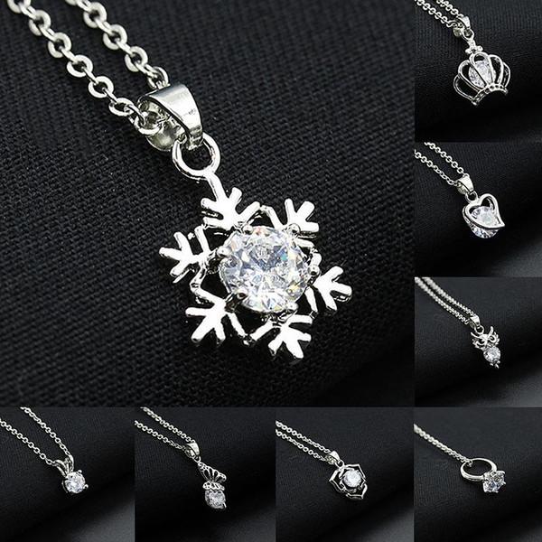 Collane di cristallo Collana girocollo con ciondolo con strass Collana con fiocco di neve placcata argento Collana con ciondolo a forma di cuore con farfalla a forma di farfalla