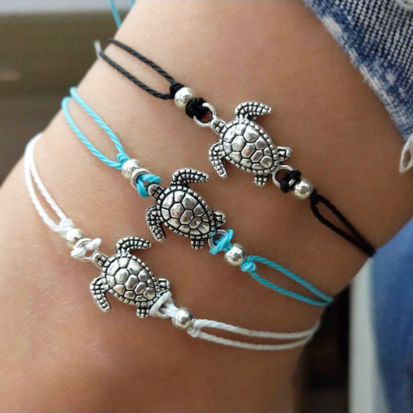 top popular Summer Beach Turtle Shaped Charm Rope String Anklets For Women Ankle Bracelet Woman Sandals On the Leg Chain Foot Jewelry 2019