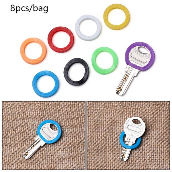 8Pcs/Set Hollow Silicone Key Cap Covers Topper Key Holder Elastic Keyring Rings Case Bag Organizer Wallets Random Colors