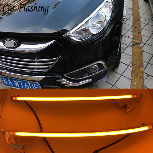 wholesale 2PCS LED Daytime Running Light Yellow Turn Signal Relay Car Headlight Eyebrow For Hyundai IX35 2010 2011 2012 2013