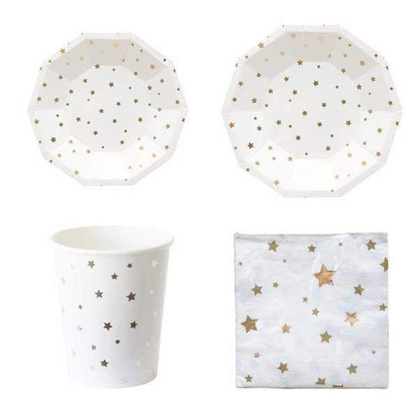 Paper Cup Napkin Plate Sets Foil Gold Five Pointed Star Pattern Disposable Tableware Set For Party Decor Supplies 27 8al BB