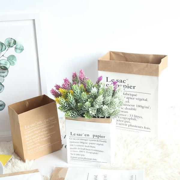 Papiertüte Kuhfell-Aufbewahrungs-Minibeutel wasserdichte Blumentasche weiß braun wiederverwendbare Aufbewahrungsbeutel vergossene Blumenanzeige schöne Papiervase-Tischdeko