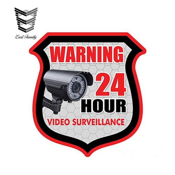 EARLFAMILY 13cm X 11cm Car Styling WARNING 24 Hour VIDEO SURVEILLANCE Security Alarm Decal Graphics Waterproof Car Sticker