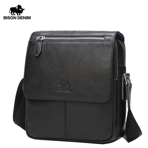 Bison Denim Genuine Leather Men's Bag Brand Black Business Male Messenger Bags Man Crossbody Bags For Men Ipad N2532 MX190724