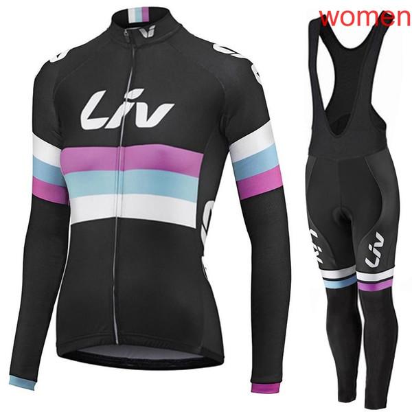 2019 équipe LIV femmes cyclisme maillot bavoir pantalon VTT uniforme de sport automne printemps printemps course sèche vêtements de vélo Y032104