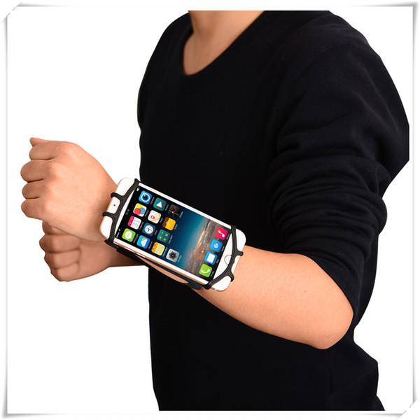 Spor koşu önkol kol bandı için iphone 7 evrensel egzersiz için cep telefonu akıllı telefonlar kol case siyah
