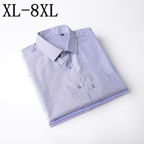 6XL 7XL 8XL Men Shirt Mens Business Casual Shirts 2019 New Arrival Men Famous Brand Clothing Plaid Long Sleeve Camisa Masculina