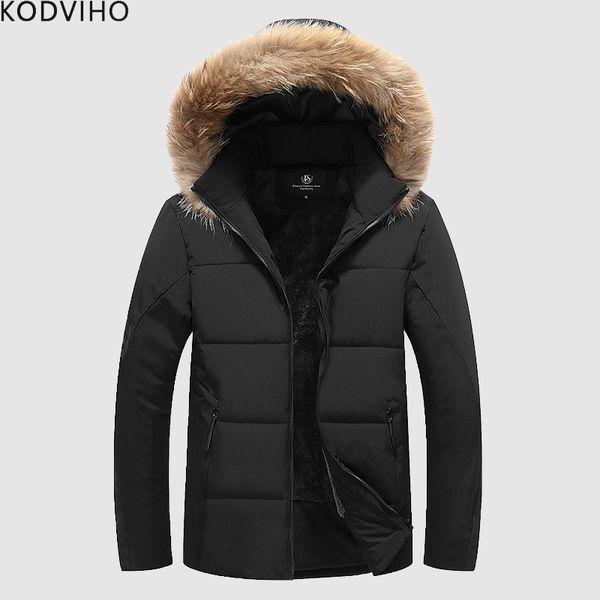 Cappotto invernale Uomo Plus Size Collo in pelliccia gonfiabile Park Warm Jacket imbottito Uomo Puffer in pile trapuntato Giacche Uomo Cappotto spesso con cappuccio