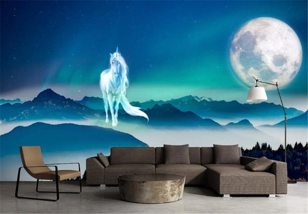 Wholesale Photo Wallpaper Space Fantasy HD God Horse Moon Starry Landscape Scenery Interior HD Damp Wall paper