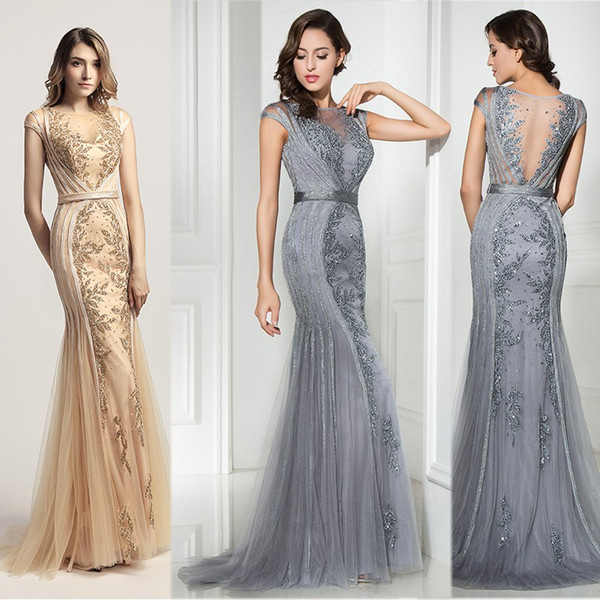 2019 Beads Mermaid Prom Dresses Sexy Backless Sheer Bodice Rehinestones Formal Elegant Embroidery Floor Length Celebrity Evening Party Gowns