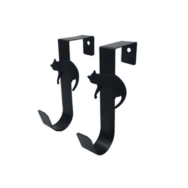 1pc Door Hooked Cat Single Hook Decoration Save Space Manager Rack Office Closet Storage Black White Cute Kitten