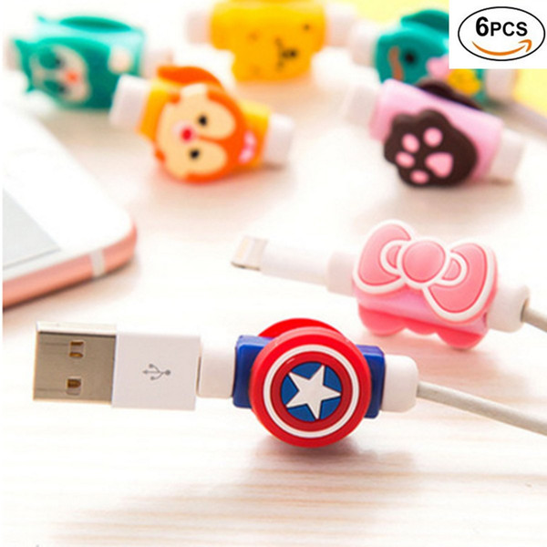 Assorted Lightning Charger Data Protective Cable Saver Protector (6 Packs) für Apple iPhone Laptop Macbook Ladekabel Saver und Fixierer Char