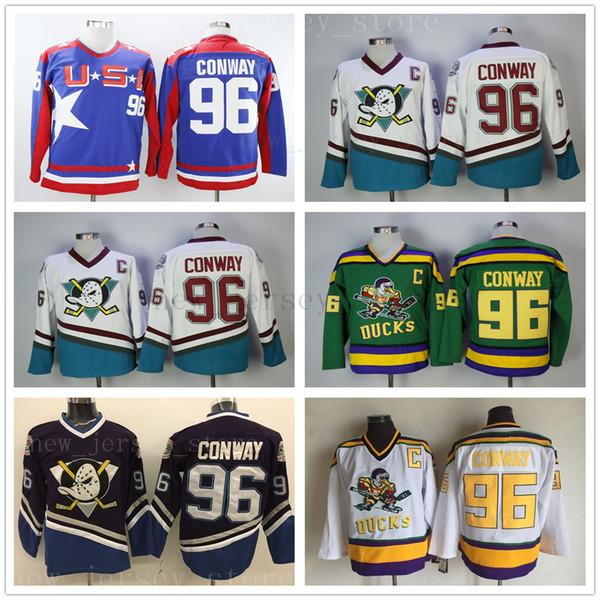 마이티 덕스 영화 96 Charlie Conway Jersey 착용 1993-94 Green 스티치 봉제 애너하임 오리 빈티지 Charlie Conway Retro Hockey Jerseys