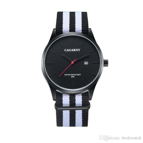Cagarny Casual Correa de cuero Gran Dial Movimiento de cuarzo Militar impermeable Hombres S Relojes deportivos Relogio masculino