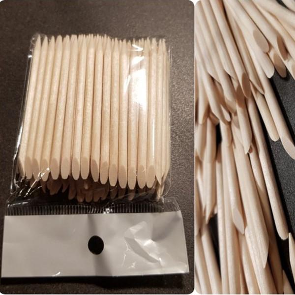 100 pièces de bois orange bois bâtons double face utiliser des bâtons de cuticule pour Pusher Remover outils de pédicure manucure, (2.95 pouces)