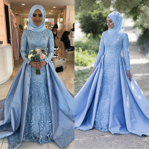 Newest A Line Muslin Long Sleeves Evening Dresses With 3D Flowers Adorned Bridal Gowns 2019 Modest Vestidos De Mariage