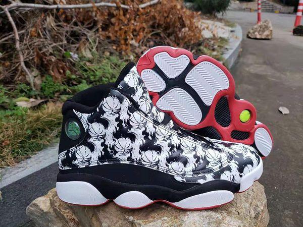 13 Negro, blanco, zapatos de baloncesto de tatuaje para hombre Pintura china clásica en tinta Graffiti 13s Hombres Deportes atléticos Zapatillas de deporte Entrenadores con caja