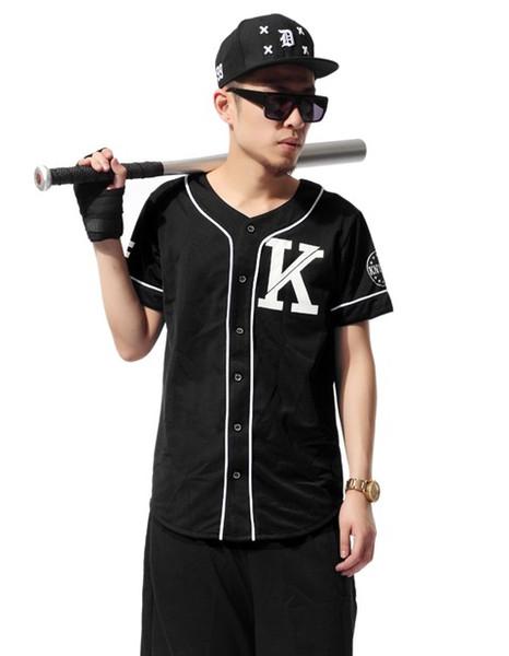 Baseball Jersey Letter printing T-shirt Hip Hop Men Women Baseball Tee Shirt Color Black and White Cotton T-shirts Tees