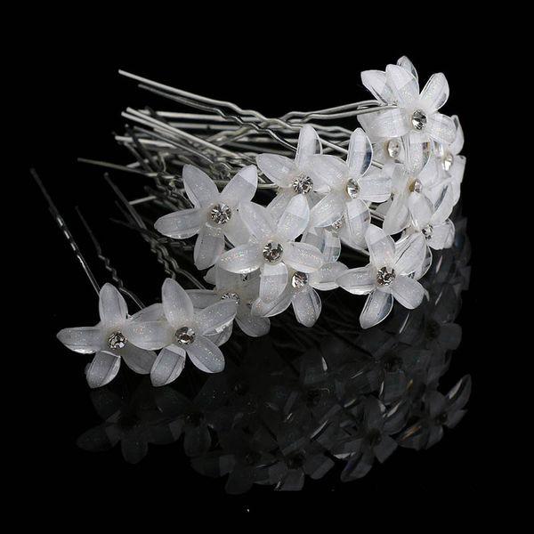 20pcs Crystal Rhinestone Flower Hair Pin Clips Women Wedding Bridal Hair Spiral Hairpins Fashion Jewelry Wholesale