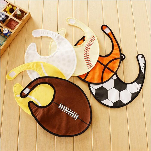 Baby Bibs Infant Cartoon Burp Cloths INS Newborn Bandana Baseball Tennis Rugby Bibs Waterproof Pure Cotton Saliva Bibs Kids Pinafore LT335