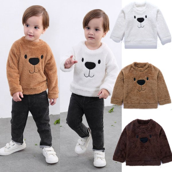 toddler kids baby girl boy  sweater thicken velvet warm clothes bear print fluffy sweater 3fs