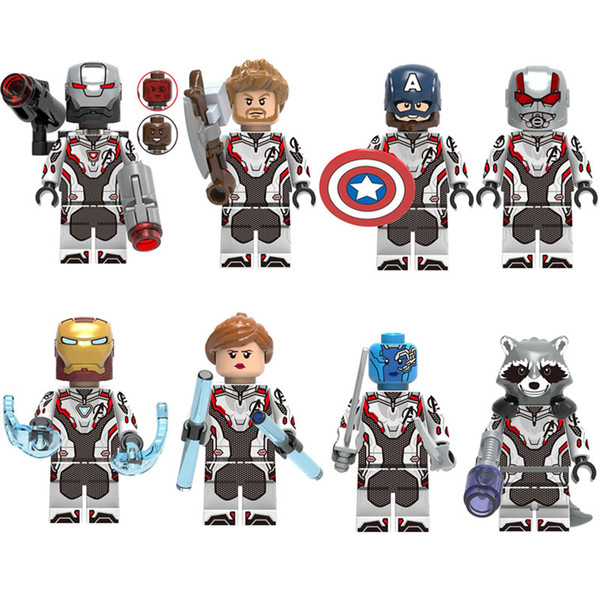 8pcs Avengers Mini Toy Figure Super Hero Superhero Iron Man Captain America Figure Building Block Toy Compatible With Most Leading Brands