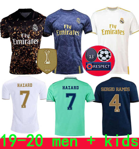 top popular 19 20 Real Madrid Soccer Jersey HAZARD home away adult soccer shirt ASENSIO ISCO MARCELO madrid 19 20 kids kit Football uniforms 2020