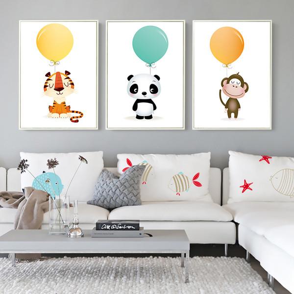 Névoa Minimalista Aquarela Balão Panda Macaco Tigre Animal Lona Pintura Art Print Poster Imagem Criança Quarto Home Decor