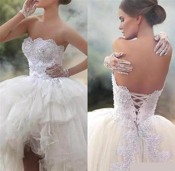 2019 Sexy High-Low Lace-up Volver Vestidos de novia Cuello de novia Apliques de encaje Una línea de tul Vestido de novia Perlas Lentejuelas robe de mariee