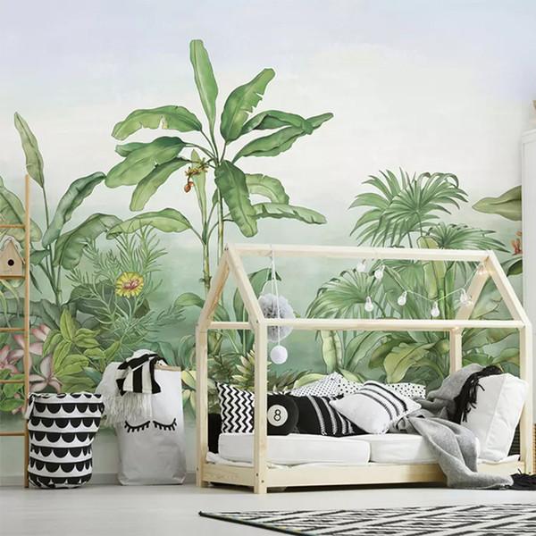 3D Wallpaper Modern Green Leaves Banana Plant Murals Wohnzimmer TV Sofa Schlafzimmer Wohnkultur Hintergrund Tapeten Für Wände 3 D
