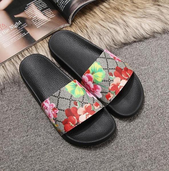 2019 new Men Women Sandals Designer Shoes Slide Summer Fashion Wide Flat Slippery Sandals Slipper Flip Flop size 35-46 flower box