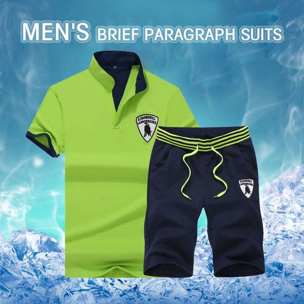 2018 мужской комплект летние костюмы прохладные дышащие мужские костюмы хлопок рубашка мужчины шорты на шнуровке повседневная футболка с воротником вниз