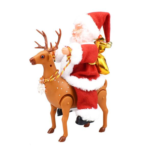 Рождество Электрический Санта-Клаус Креатив Музыка Танцы Кукла езда Олень Санта игрушки Рождество Фигурка Орнамент украшение подарков