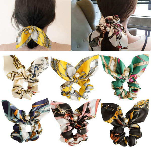 Fashion elastic hair bands Ethnic style floral printing satin hair ribbon for women pearls rubber bands scrunchies accessories 36 Colors